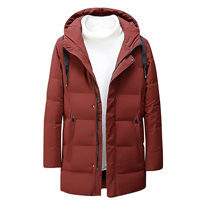Men/'s Down Coat Winter Thick Hoodie Outerwear Jacket Hooded Warm Solid Overcoat