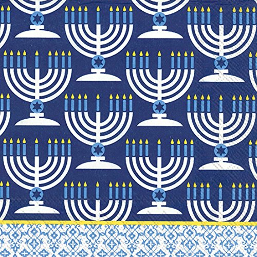 Ideal Home Range 20-Count Festival Of Lights Paper Luncheon Napkins, - Paper Judaica