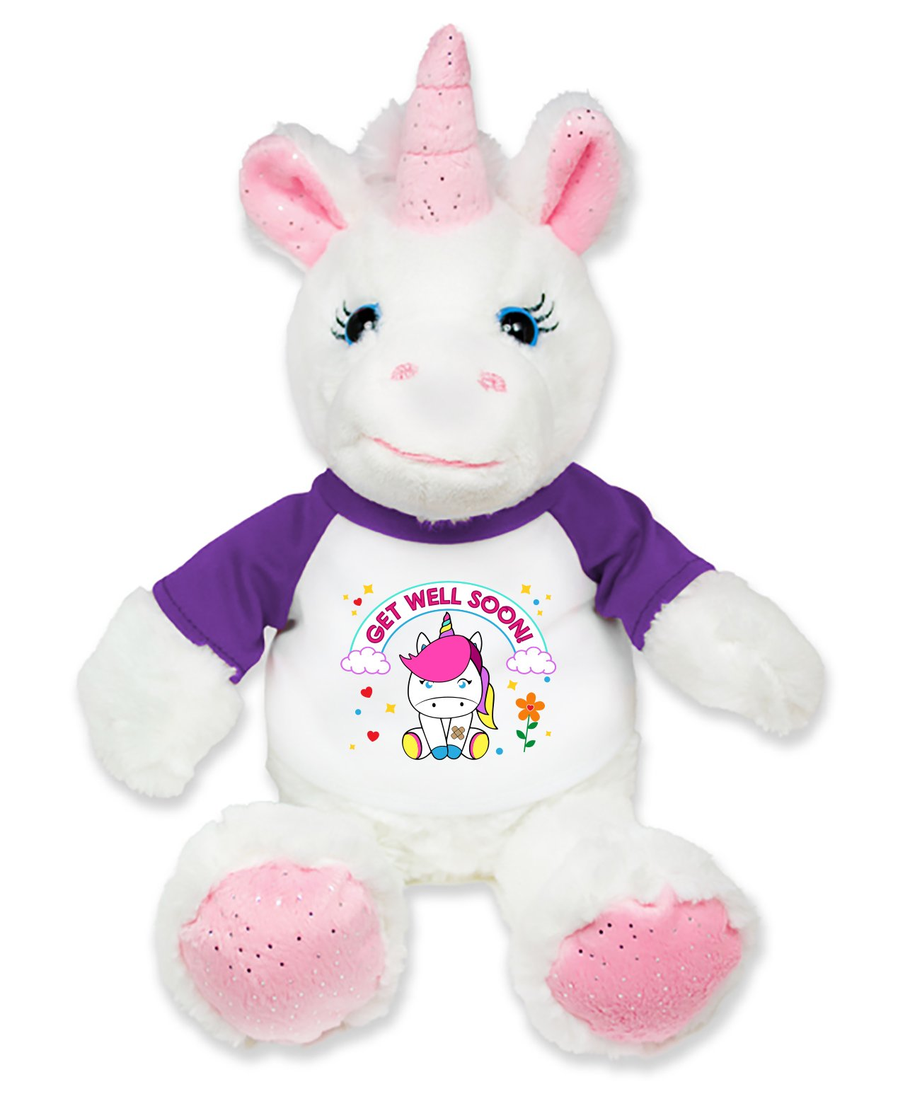 Flutter Hut Get Well Soon Unicorn Plush Pink Sparkles Message T-Shirt Purple Sleeves 8 inches