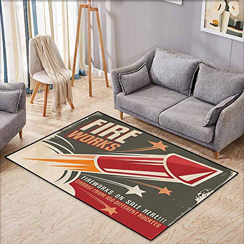 Girl Bedroom Rug Vintage Decor Collection Retro Fireworks in Vintage Paper with Stars Rockets Western Halloween Illustration Gray Red Easy to Clean W6'5 xL4'6 -