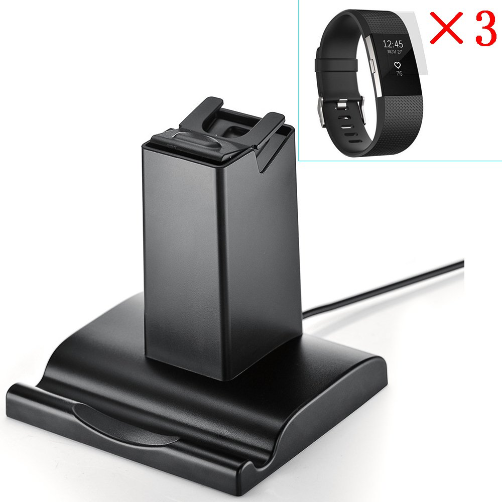 Charging Stand,WMTGUBU Fitbit Charge 2 Charger Dock&2-Pack Glass Screen Protector for Cradle Holder USB Charging Dock Station Tracker Watch Stand for iPhone Samsung Galaxy Tablets