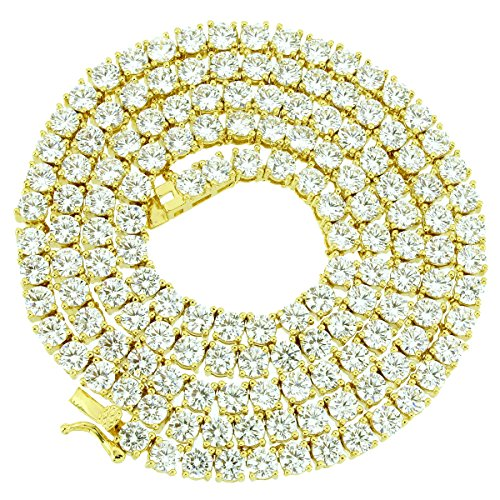 1 Row Tennis Necklace 20 Inch 14k Gold Finish Lab Diamonds 4MM Iced Out Solitaires (Simulated Necklace Diamond Tennis)