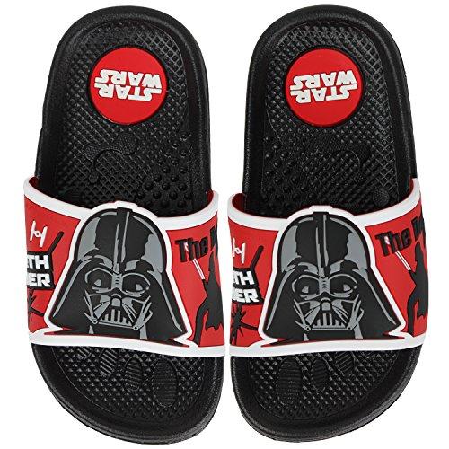 Joah Store Star Wars Darth Vader The Dark Side Slide Sandals for Kids Boys Girls Black Red Shoes (13 M US Little Kid, Star Wars Darth Vader) -