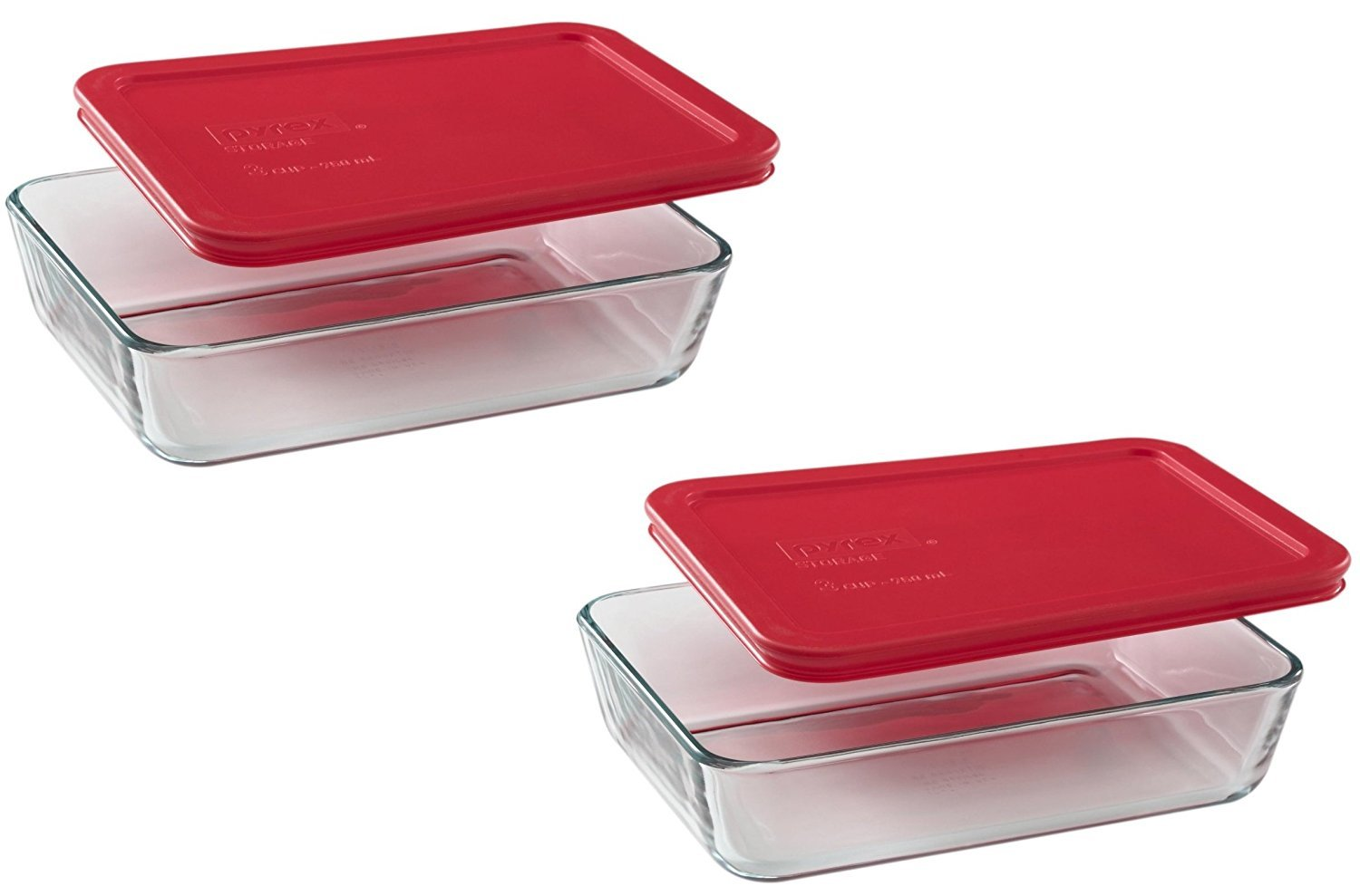 Pyrex 3-Cup Rectangle Food Storage, Pack of 2 Containers