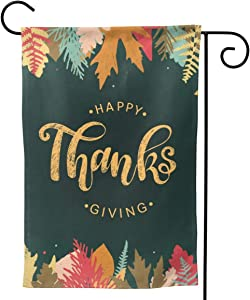 Waldeal Happy Thanksgiving Day Welcome Garden Flag, Double Sided Premium Material, Autumn Leaves Seasonal Outdoor Banner Decorative Flags for Home Yard Lawn, 12 x 18 Inch