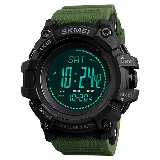 Reloj digital para hombre con podómetro, calorías, alarma, barómetro, brújula, termómetro, reloj para hombre: skmei: Amazon.es: Relojes