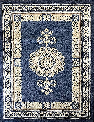 Traditional Persian Area Rug Light Blue Beige & Ivory Carpet King Design 121 (6 Feet X 9 Feet) (Traditional Blue Rugs)