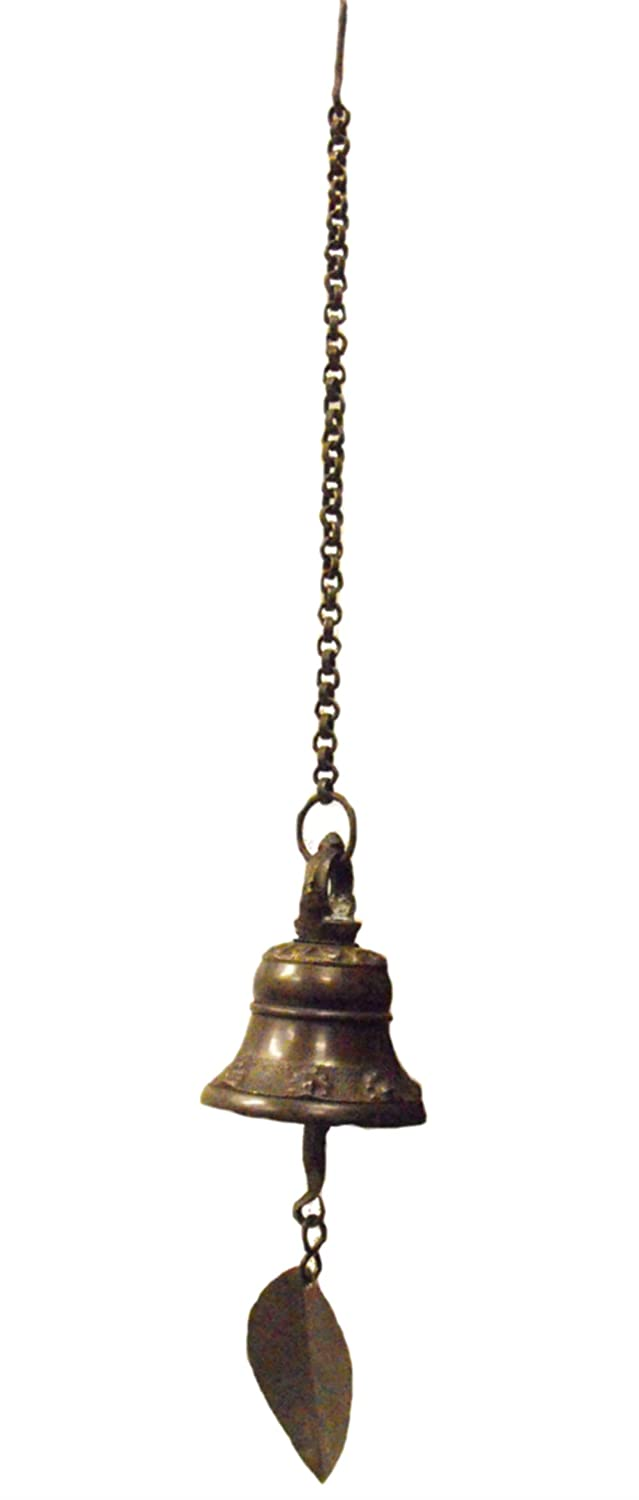 Traditional Nepalese Temple Wind Bell with leaf hanger to catch the breeze, with hanging chain and hook - makes a beautiful sound -full hanging length 33cm One World is Enough