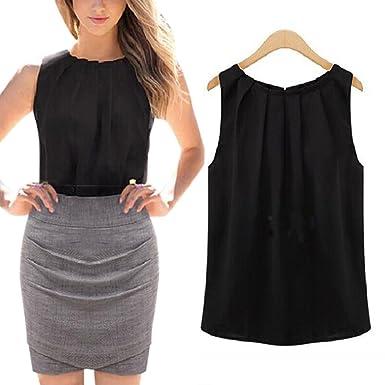 Cibeat Camisa sin mangas de la gasa del cuello redondo de las mujeres Jersey con estilo