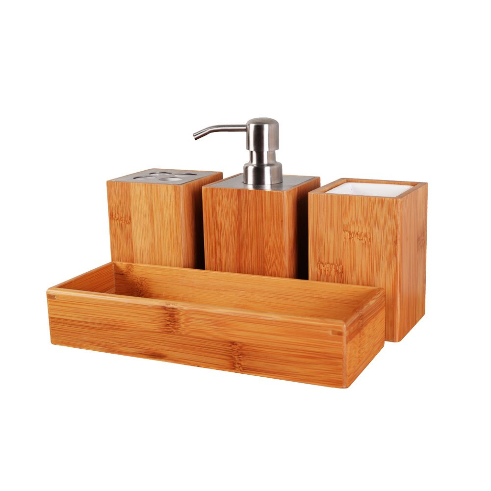 Facilehome Bamboo Bathroom Accessory Set,4-Piece,Soap dispenser,Square Storage Cup,Toothbrush holder,Amenity tray