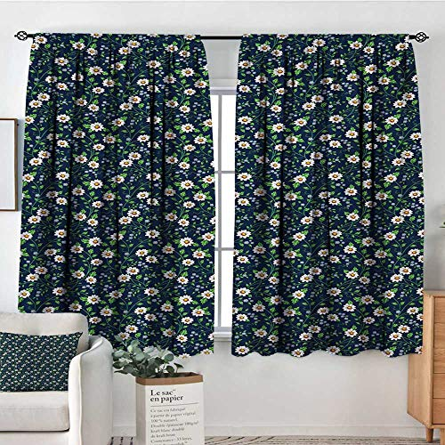 Vintage Thermal Insulating Blackout Curtain Daisies with Fresh Leaves Spring Revival of The World Season Kid Blackout Curtains 55