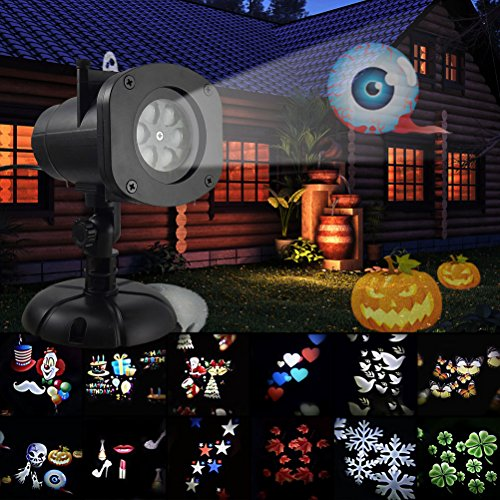 Holiday Projector Lights,Bagvhandbagro Halloween Christmas Projector Lights with 12 Switchable Pattern Lens Led Landscape Spotlight,Waterproof Lights for Christmas Halloween Holiday Home Decoration (Halloween In Times Square 2017)