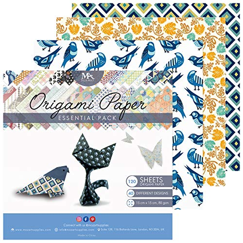 MozArt Supplies Origami Paper Set - 120 Sheets - Traditional Japanese Folding Papers including Floral, Animal Prints, Aztec, Geometric - Origami Papers for Kids & -