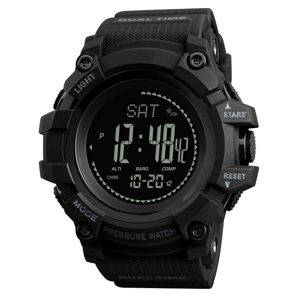 GH-YS Waterproof Smart Watch, Outdoor Sports Calendar Compass Multi-Function Air Weather Forecast Electronic Watch,Black by GH-YS