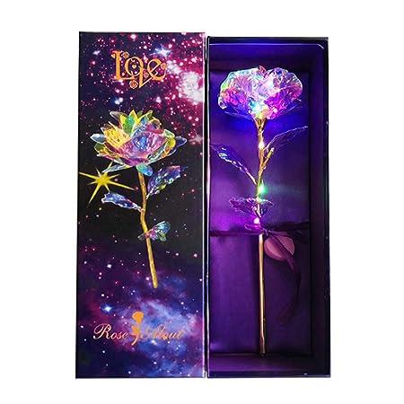 KIRIFLY Oro Rosa Regalos para La Mujer Rosas Artificiales Luz LED Multi Color Falso Plástico Flor Celofán Aniversario Cumpleaños Regalos Compromiso