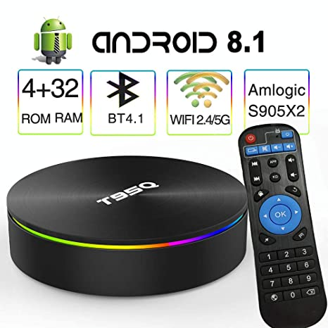 Android 8 1 TV Box,EASYTONE T95Q Android Boxes Quad-Core S905X2 64bit 4GB  RAM 32GB ROM Support 5G WiFi/H 265/ BT4 1/ USB 3 0/ 1000M LAN/ 4K Ultra HD