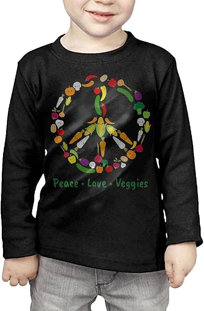 Boys Stylish Long Sleeve Crew Neck Cotton Cute Kawaii Vegetable Veggie Peace Sign Tee for Youth