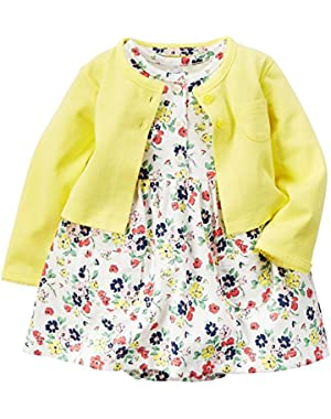 Baby Girls' 2 Piece Dress Set-Yellow Floral