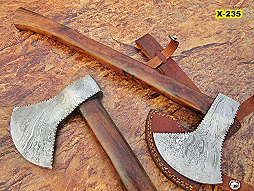 DIST AX-235, Custom Handmade 17.4 Inches Damascus Steel Axe – Gorgeous and Solid Rose Wood Handle