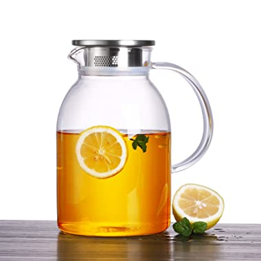 ONEISALL 75 Ounces Large Heat Resistant Glass Beverage Pitcher with Stainless Steel Lid, Borosilicate Water Carafe with Spout and Handle, Perfect for Homemade Juice & Iced Tea
