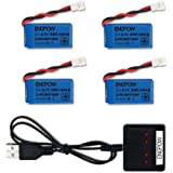3.7V 380mah Lipo Battery with X4 Battery Charger for Controller of Drone HS230 GBlife Bounce Car TOZO Q2020 X4 H107C H107L H1