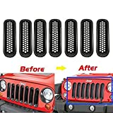 [Upgrade Clip-in Version] u-Box Black Front Grill Mesh Grille Insert Kit for Jeep Wrangler Rubicon Sahara Jk 2007-2015 - 7PCs