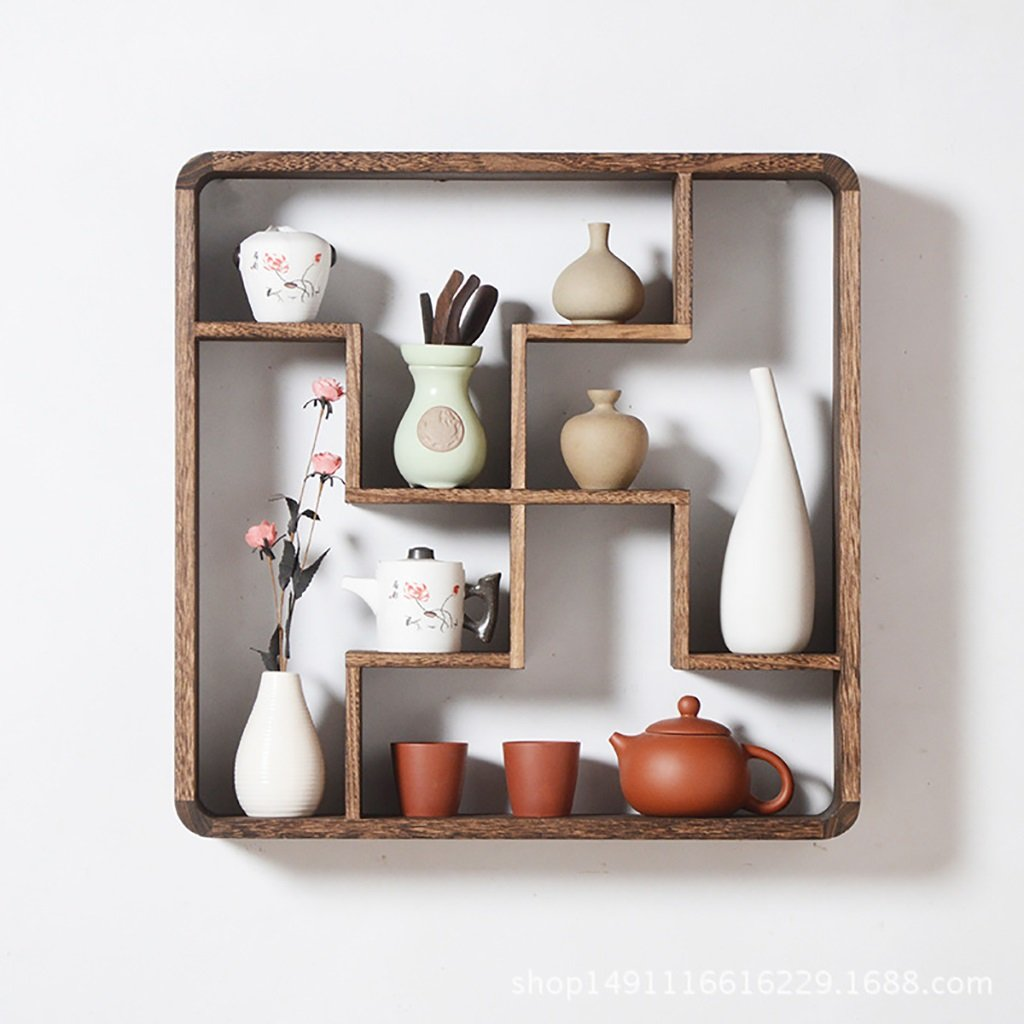 Wall Decoration Wood Shelf Wall Decoration Square Wall Bracket Home Living Room Storage Rack Wall Hanging Bedroom Living Room Wall Decoration Shelf