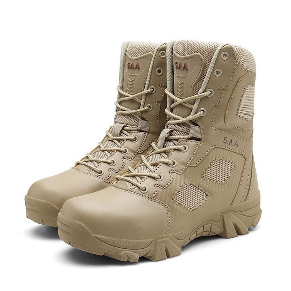 Hy Herrenschuhe Mesh Herbst Winter Outdoor-Laufschuhe Slip-Ons tragbare Trainingsschuhe High-Top-Stiefelies Militärstiefel Werkzeugschuhe (Farbe   Sand Größe   47)