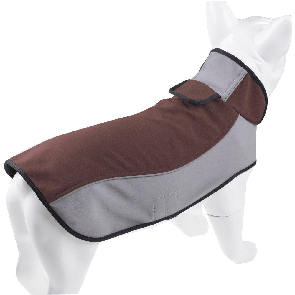 Brown M(Length 14\ Brown M(Length 14\ Fosinz Outdoor Waterproof Dog Jacket Warm Reflective (M(Length 14 ,Neck 15 ,Breast 18 ), Brown)