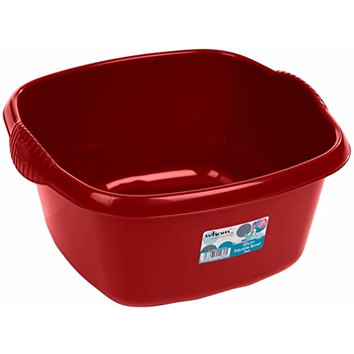 32cm Plastic Square Washing Up Bowl Sink Tidy Basin Mixing Kitchen Caddy Dessert Serving Bowls (Chilli Red)