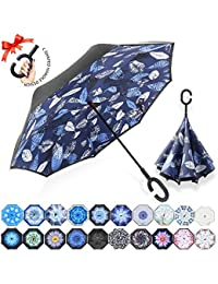Double Layer Inverted Umbrella Cars Reverse Umbrella, UV Protection Windproof Large Straight Umbrella for Car Rain Outdoor with C-Shaped Handle