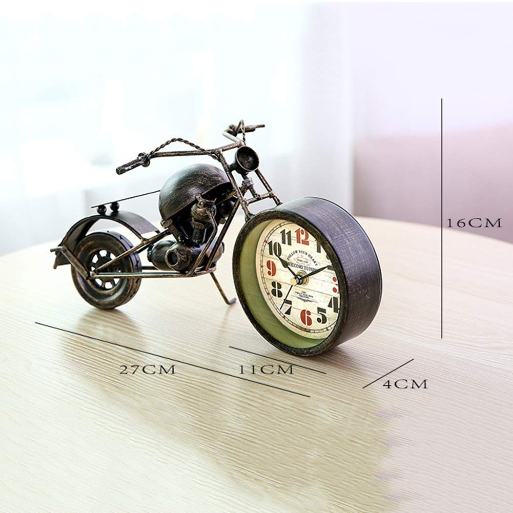 Li-lamp Table Clock,Retro Style Motorcycle Alarm Clock Unique Gift for Motor Lovers,Kids,Boys,Unique Eye-catching Exquisite Motorbike Sporting
