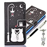 Apple iPod Touch 6 / 5 Generation Case, Alfort 3 in 1 Fashion Design Dual-Use Flip Phone Case Cover Fold Premium PU Leather Book Wallet Style Case Stand Cover & Screen Protector Support Function for Apple iPod Touch 6 / 5 Image Cat lovers ( Black ) + Cute Crystal Dust Plug + Crystal Stylus Pen