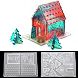 2Pcs/Set 3D Christmas Gingerbread House Silicone Resin Epoxy DIY Craft Making Mold Chocolate Fondant Mold Cake Decorating Too