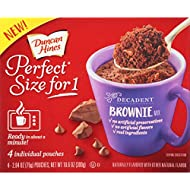 Duncan Hines Perfect Size for 1 Mug Cake Mix, Ready in About a Minute, Chocolate Brownie, 4 individual pouches