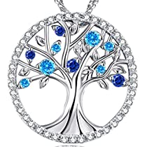 Birthday Anniversary Gift Fine Jewelry for Women for Her Wife Daughter Family The Tree of Life Love Necklace March Birthstone Created Aquamarine and Sapphire Sterling Silver