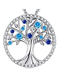 Christmas Jewelry Gift for Her Tree of Life December Birthstone Created Blue Topaz Necklace Sterling Silver Pendant