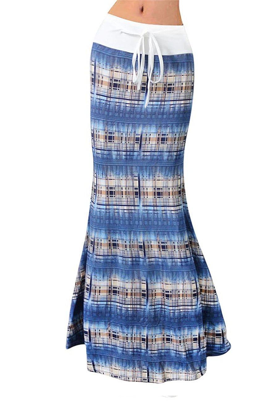 bluee00843 Hoohu Women's Summer Sexy Multicolord Floral Print High Waist Bodycon Maxi Long Skirt for Casual Beach Vacation