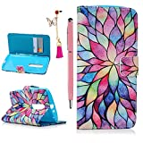 Moto X Play Case- MOLLYCOOCLE® [Color Flower]Stand Wallet Purse Credit Card ID Holders Magnetic Design Flip Folio TPU Soft Bumper PU Leather Ultra Slim Fit Cover for Motorola Moto X Play