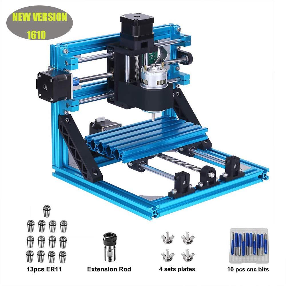 MYSWEETY 1610 GRBL Steuerung DIY CNC Graviermaschine + 1 Satz ER11, Holzschnitzerei Frä sen PCB PVC CNC Router Kit (Arbeitsbereich 16x10x4.5cm, 3 Achsen, 110V-240V)