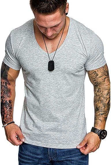 Camisa de algodón y Lino de Manga Corta para Hombre Camisetas ...