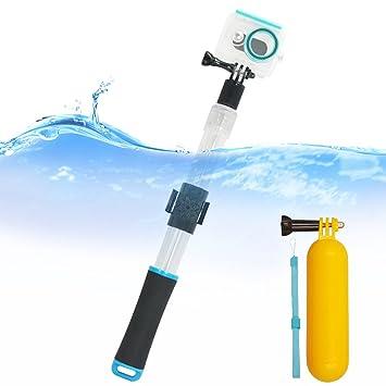 First2savvv azul Transparente Material del flotador extensión flotante Extensible selfie Polo Monopod con el clip de
