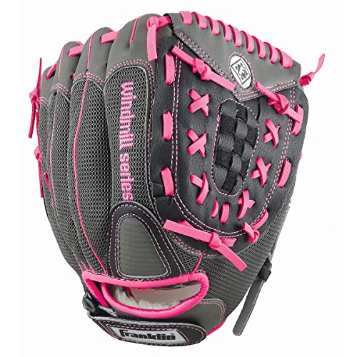 Franklin Sports Windmill Series 11-Inch Lightweight Softball Glove, Pink/Gray