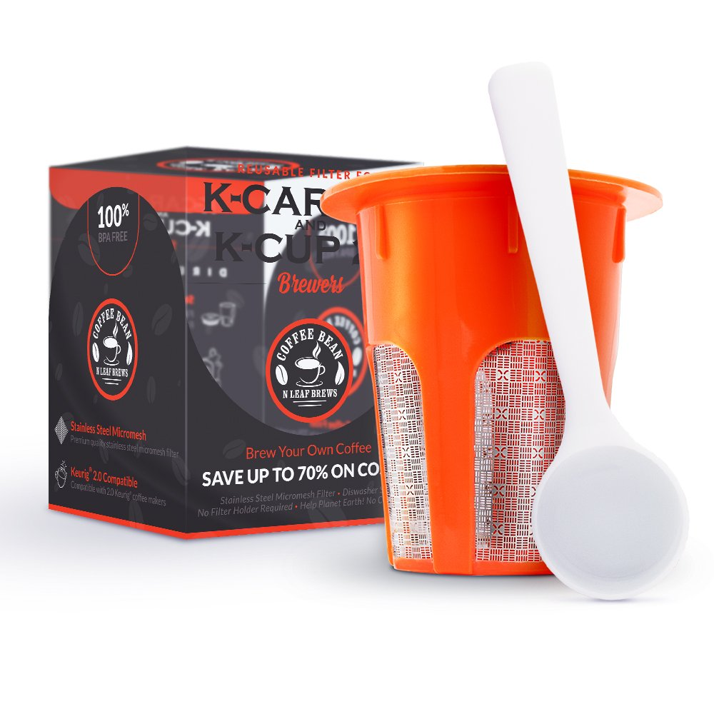 Reusable Carafe Filter - For 2.0 Keurig K Cup Coffee Maker - 1 Pod plus a FREE BONUS Scoop- Makes 4-5 Cups- By Coffee Bean N Leaf Brews