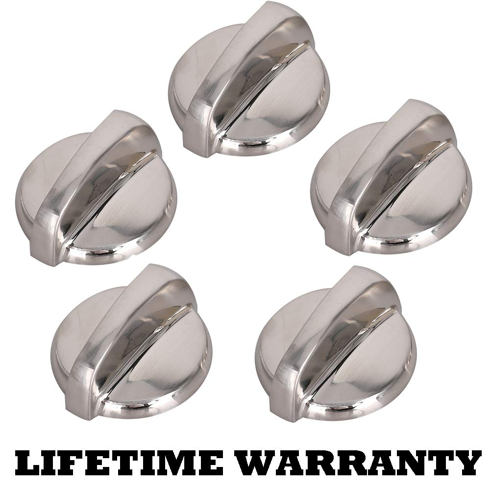 5 Pack WB03T10284 - Oven Range Chrome Burner Infinite Knobs Stainless Steel Finish for GE Range Switch Burner Replace # 1373043 AP4346312 AH2321076 EAP2321076 PS2321076