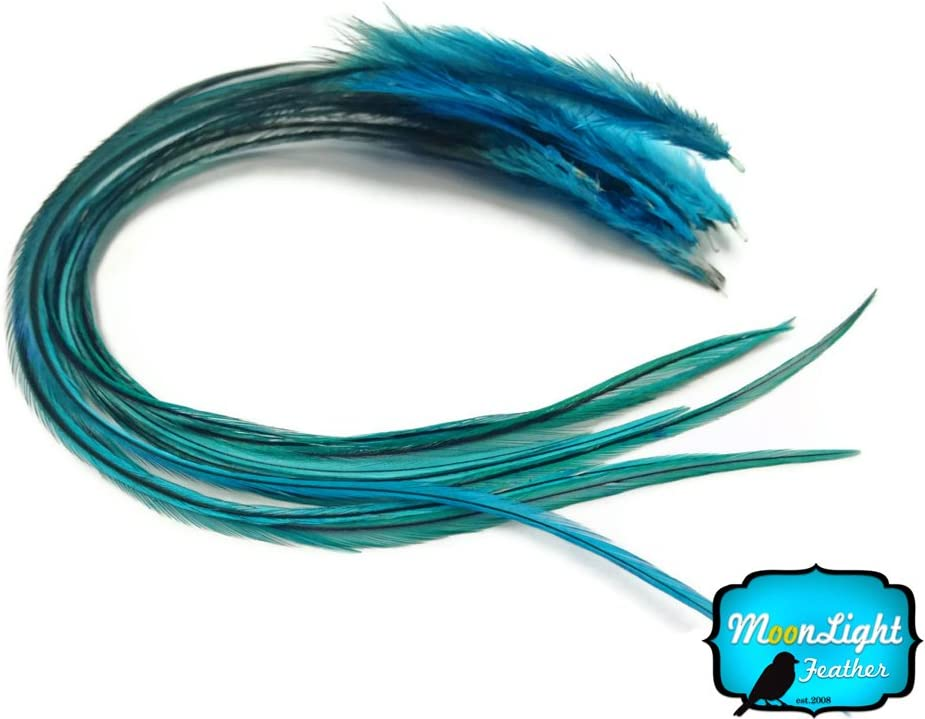 6 Pieces SOLID TURQUOISE BLUE Thick Long Rooster Hair Extension Feathers