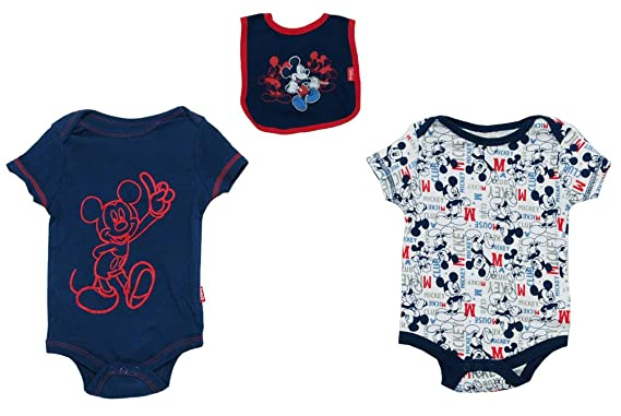 Mickey Mouse Club Walt Disney Baby Creeper Romper Snapsuits With Bib