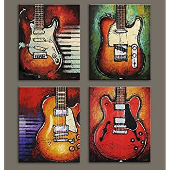 VIIVEI Wall Art Abstract Guitar Canvas Red Purple Prints Paintings Home  Decor Decal Life Pictures 4