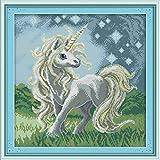 YEESAM ART New Cross Stitch Kits Advanced Patterns for Beginners Kids Adults - Beautiful Unicorn 11 CT Stamped 43x44 cm - DIY Needlework Wedding Christmas Gifts