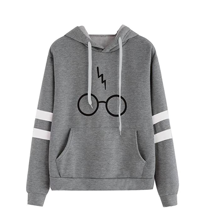 K-youth Mujer Sudaderas, Mujeres Harry ✿ Potter Gafas Estampado Sudaderas con Capucha Manga Larga Sudaderas Jersey de Bolsillo Tumblr Mujer Cortas Blusa ...
